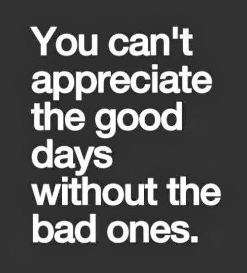 You Can T Appreciate The Good Days Without The Bad Ones Inspirational Quotes Positive Quotes Inspirational Quotes Motivation Life Quotes