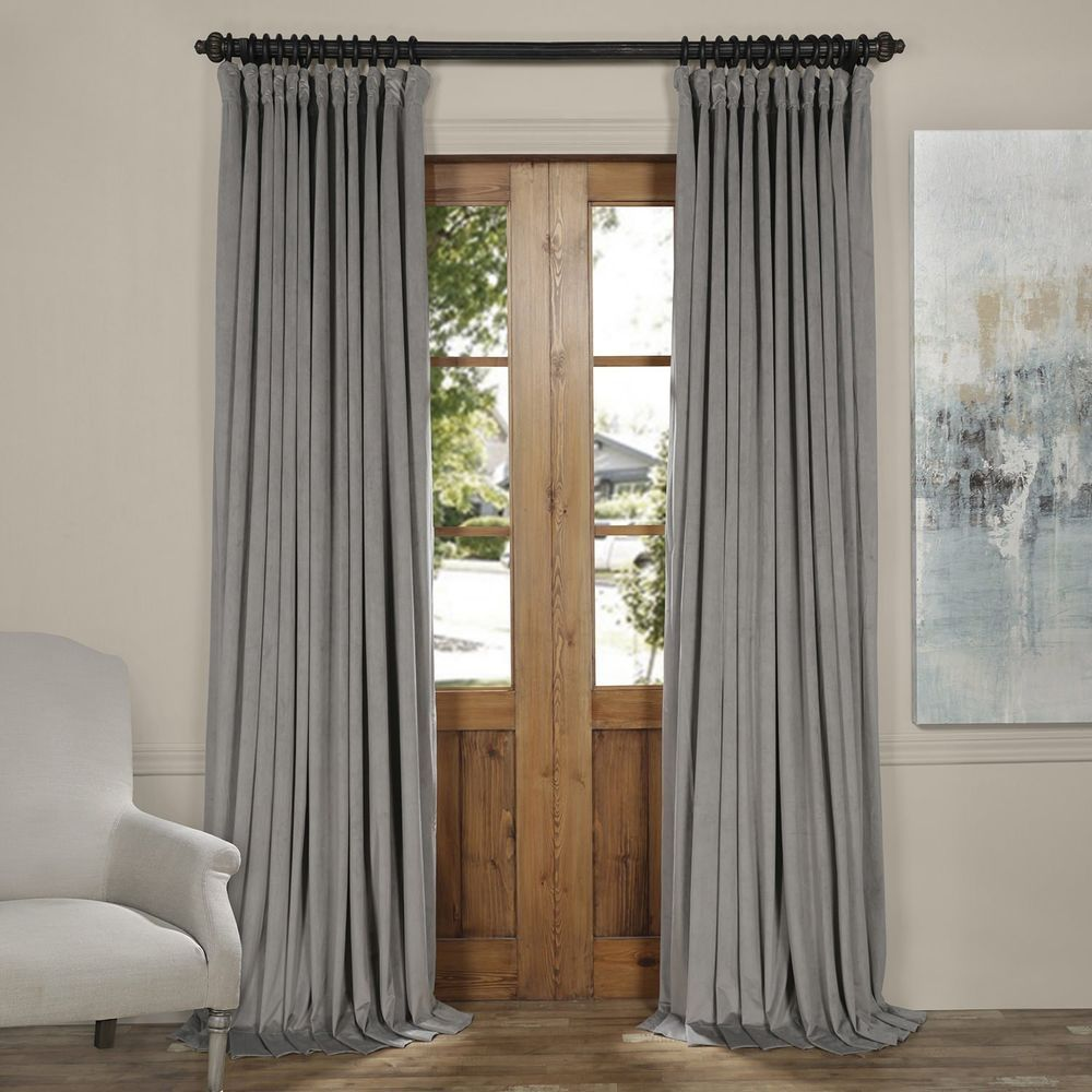 Silver Grey Velvet Blackout Extra Wide Curtain Panel 100 X 108