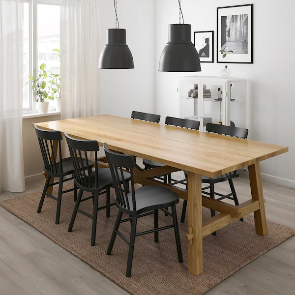 Ikea Mockelby Norraryd Oak Black Table And 6 Chairs In 2020