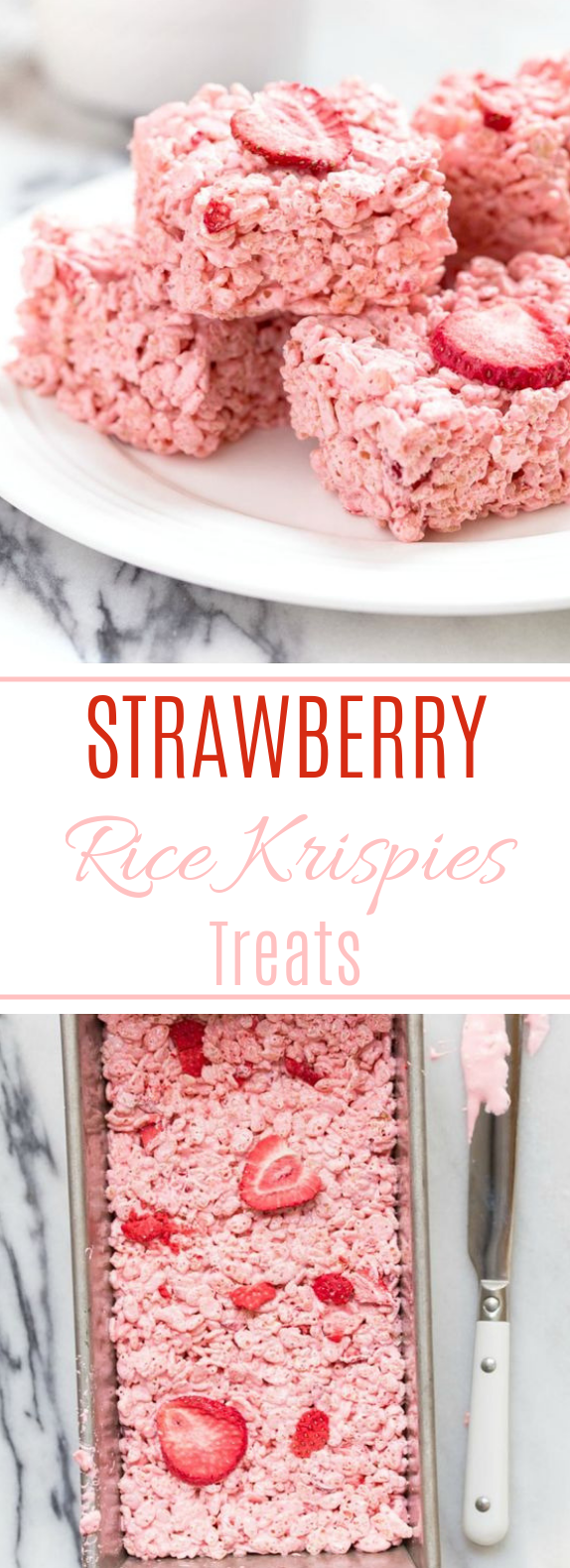 Strawberry Rice Krispies Treats #sweet #desserts #ricekrispiestreats