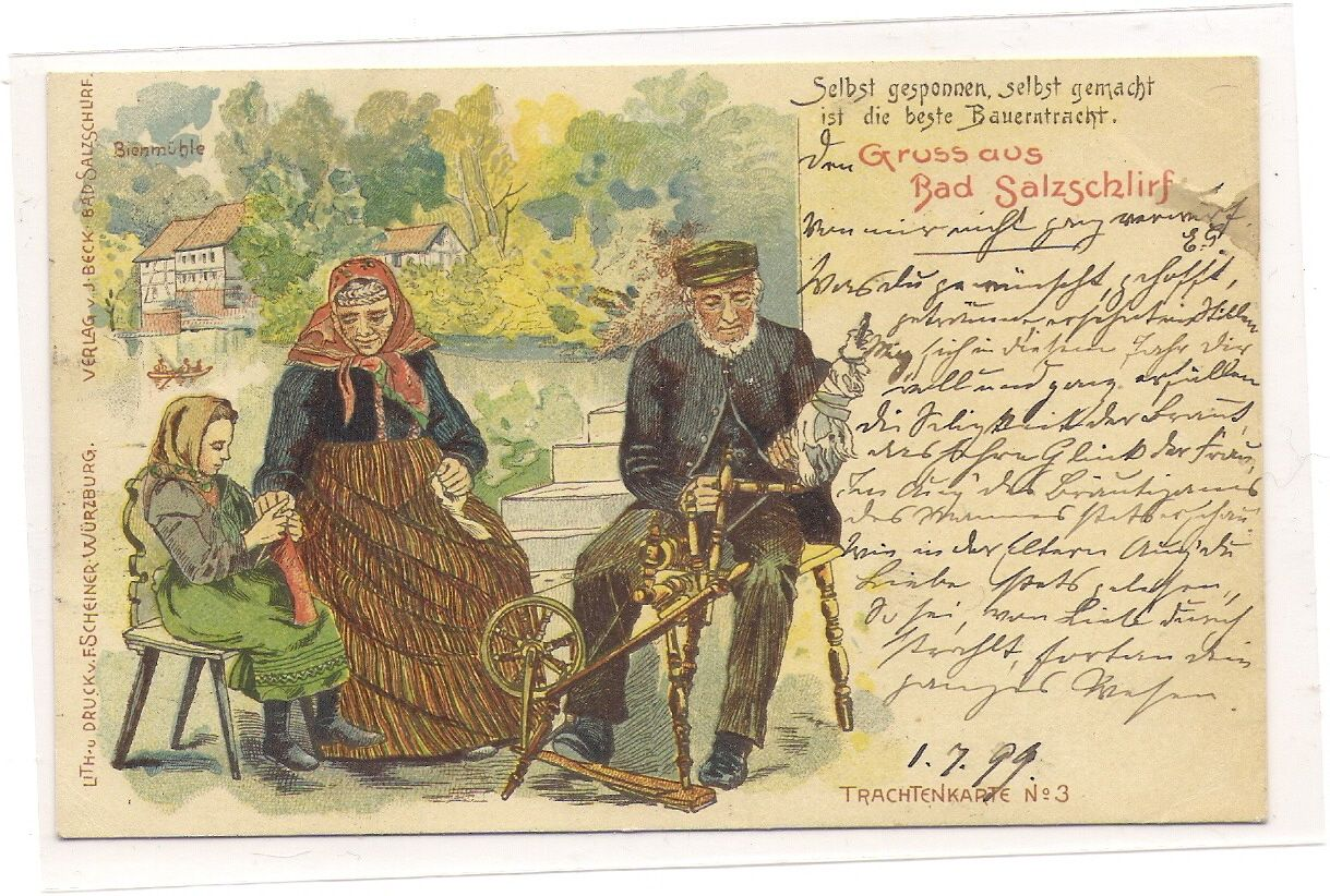 Bad Salzschlirf 1899 Trachtenkarte Nr 3.  Rarität, nach der ich Jahre gesucht habe,