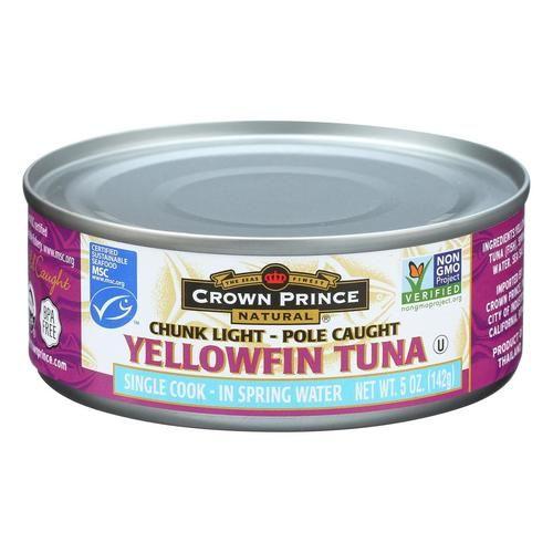 Crown Prince Yellowfin Tuna In Spring Water - Chunk Light - Case Of 12 - 5 Oz.