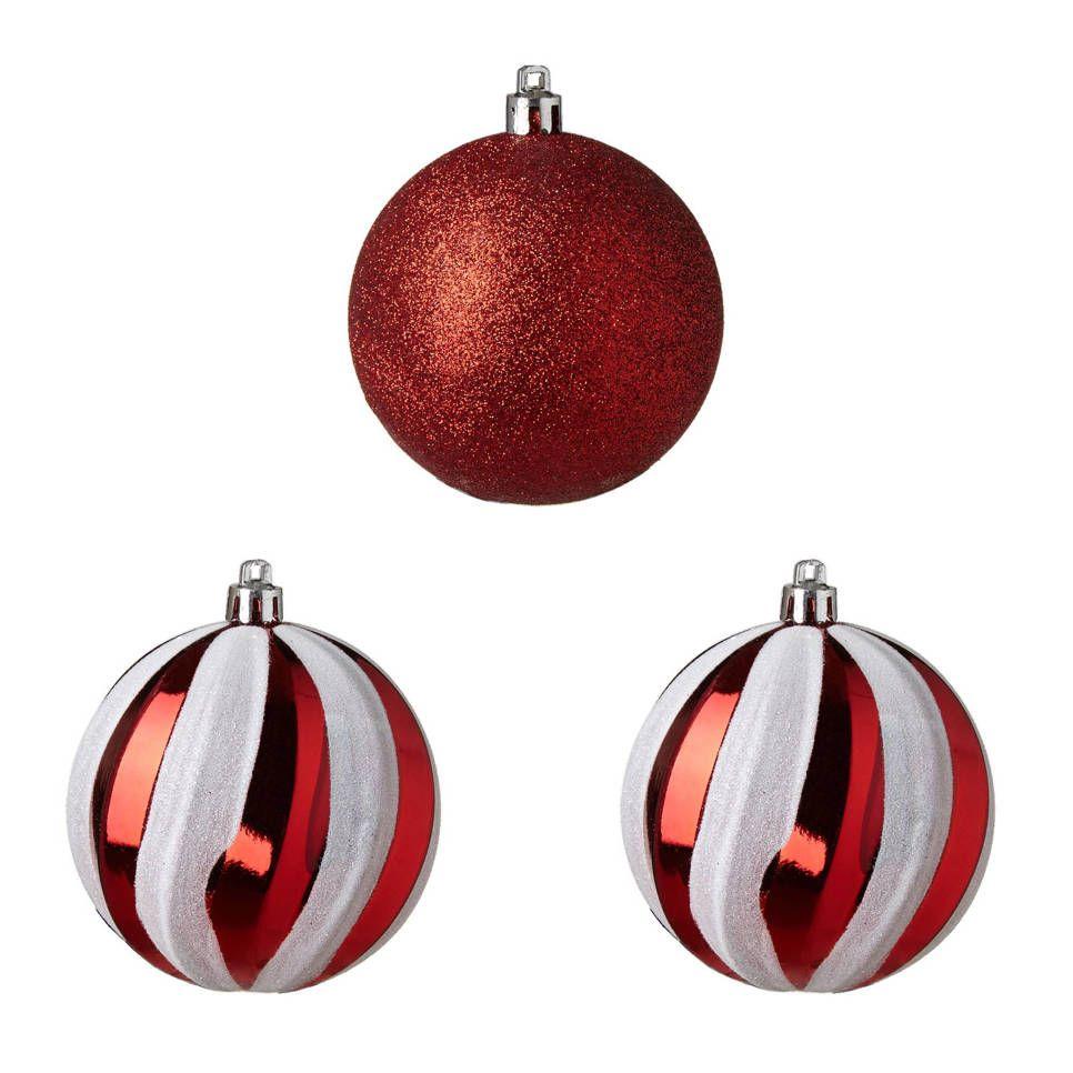 Kerstballen O8 Cm Set Van 3 Kerst Rood Fab Pinterest