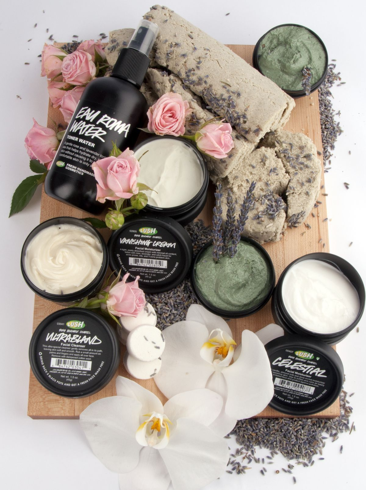 Makeup Products: Lush Flatlay Photography Roses Orchids Flower Fleur Floral