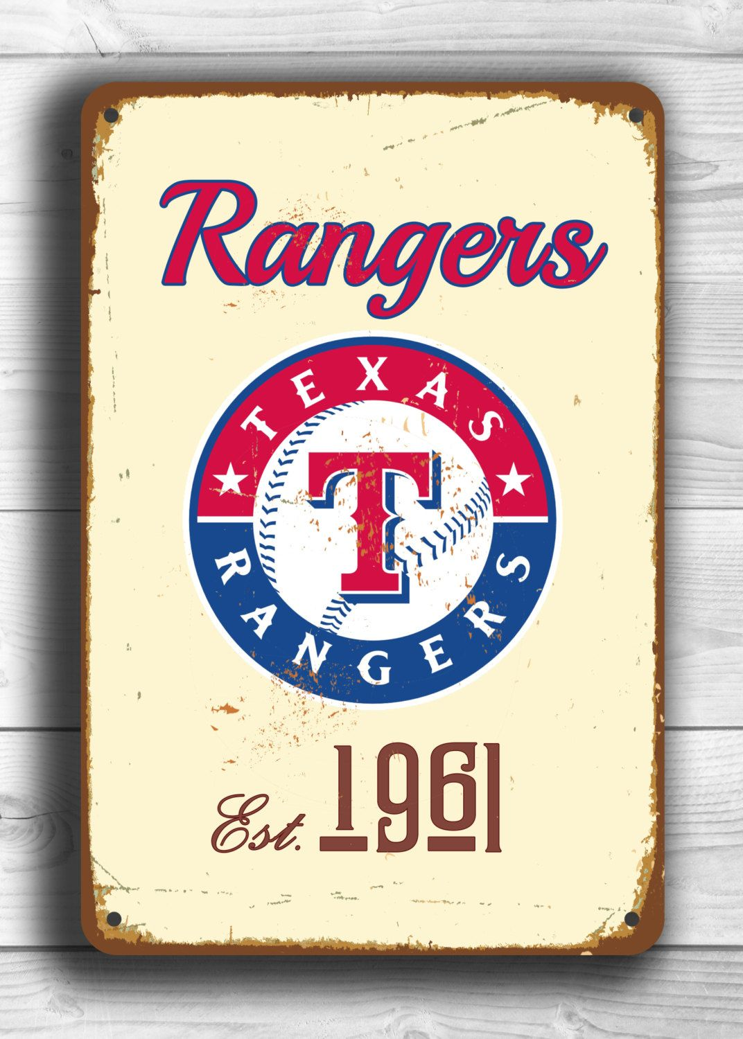 Vintage Style Texas Rangers Sign Texas Rangers Est 1961 Composite Aluminum Texas Rangers In Team Color Texas Rangers Texas Rangers Baseball Mlb Texas Rangers