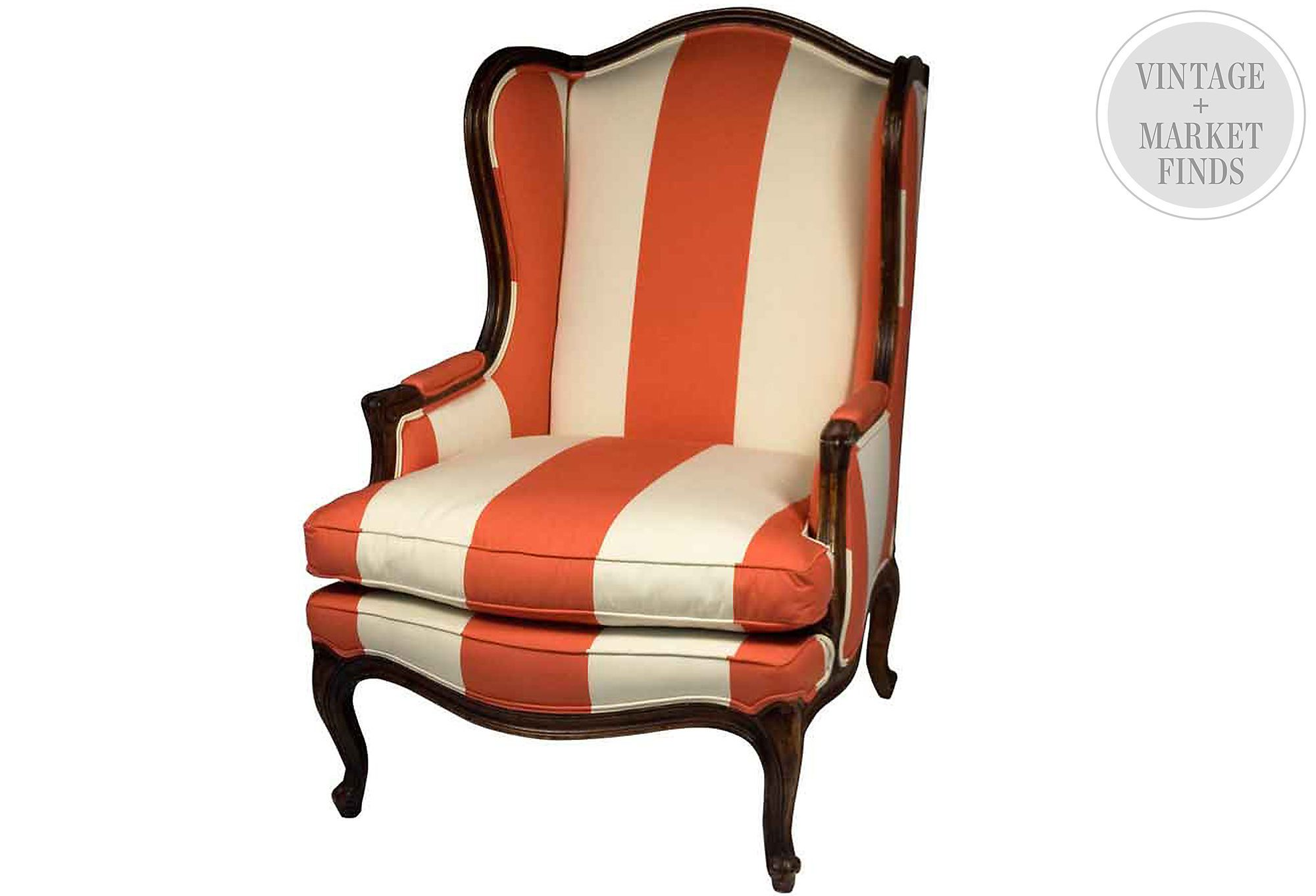 Orange Striped Wingback Chair Wingback Chair Striped
