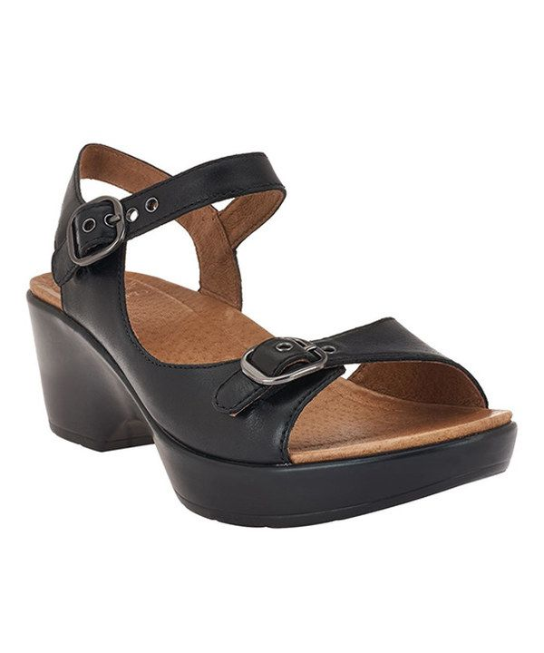 Look at this Black Joanie Leather Sandal on #zulily today!