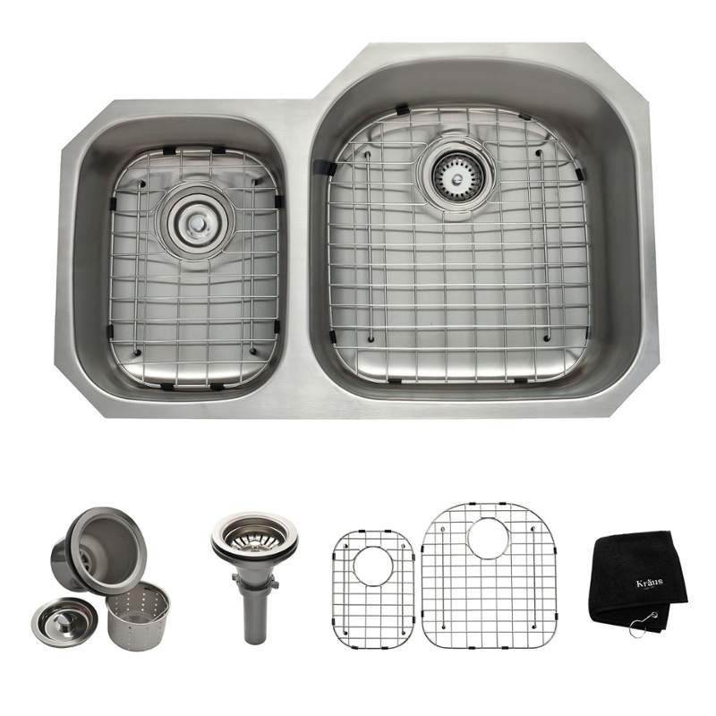 "View the Kraus KBU25 32-3/8"" Undermount 40/60 Double Bowl 16 Gauge Stainless Steel Kitchen Sink at FaucetDirect.com."