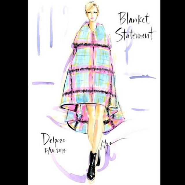 "What a tease, Mother Nature! Since it's cold out once again, it's time to make a ""Blanket Statement""! @jenniferlilya #fashionillustration @officialdelpozo #FW2014 #rocktherunway #JenniferLilya #fashionillustrator #traditionalart #acrylic #ink #painting #art xoxo"