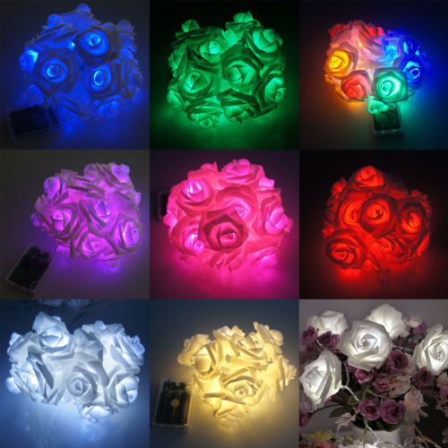Details about 20PC LED Rose Flower String Lights Lamp Chain Wedding