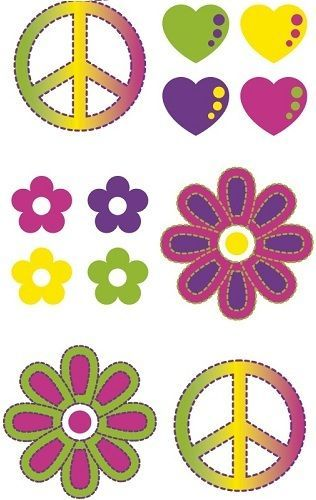 "1/"" Badges 1960/'s 60s Hippy Fancy Dress PEACE Hippie FLOWER POWER Fancy Dress"