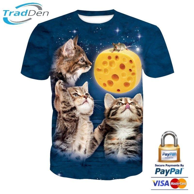 ad3ee30c New 3D Men Women T-Shirt Animal Cute Cat Cub Cool High Quality ...