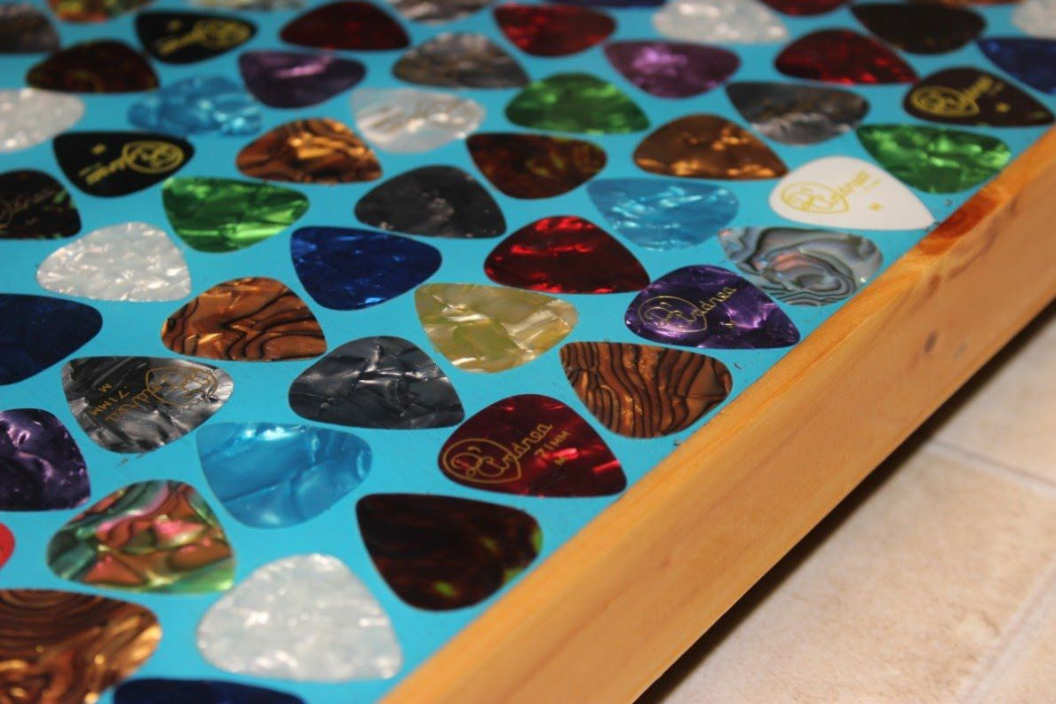 Diy Liquid Glass Epoxy Guitar Pick Table Top How To