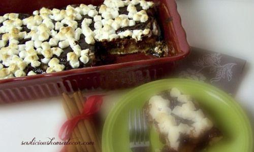 Gooey Cinnamon Roll Smores Poke Cake