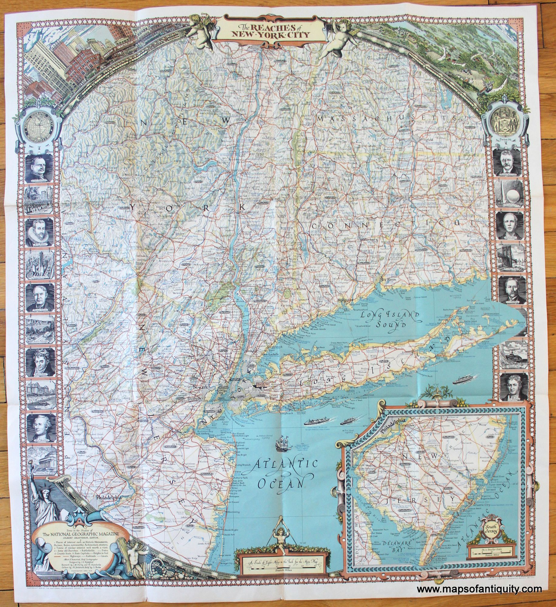 Antique 1939 Map Of The Reaches Of New York City By National Geographic Available In Our Shop And Via Our Website Map Of New York New York City Map National Geographic Maps