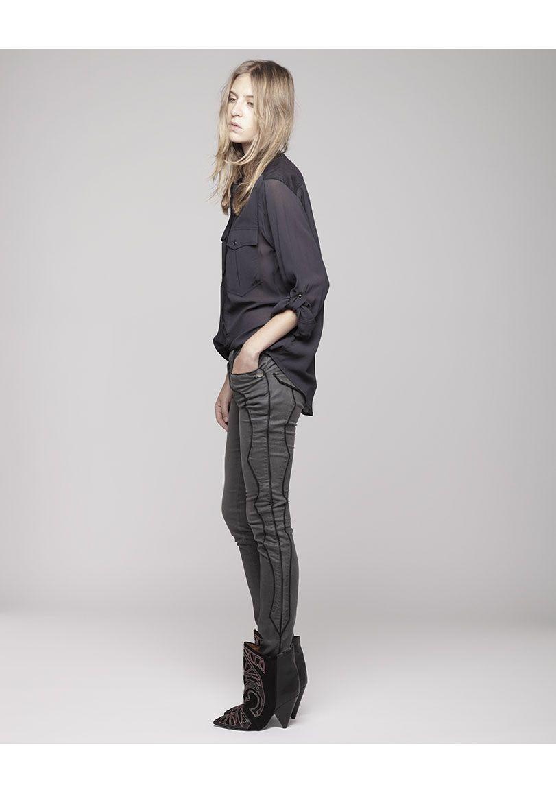 Isabel Marant / Loik Collarless Shirt + Isabel Marant Ronan Jeans with Western Piping + Isabel Marant Berry Short Boot.