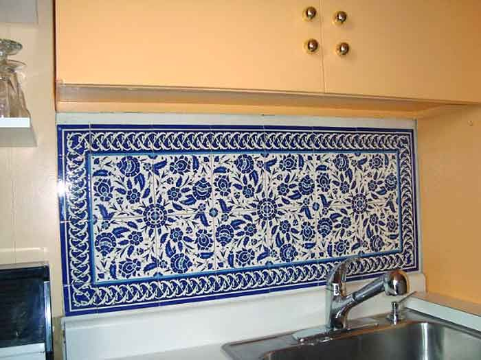 Photo Of Blue And White Floral Sink Backsplash For The Home Blue