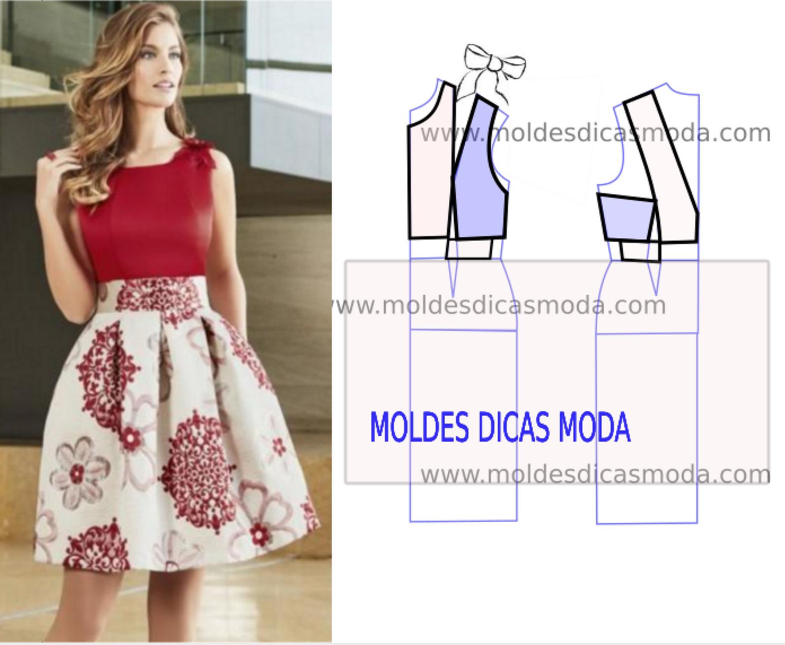 VESTIDO DE FESTA VERMELHO - Moldes Moda por Medida | Patrones de ...
