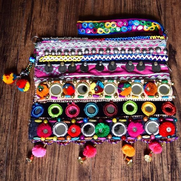 Southern Girl Fashion Bags - EMBROIDERED BAG Bohemian Mirror Banjara Wristlet - Available #ForSale in my #Poshmark closet - One Size - #MakeAnOffer #Prints #Chic #OOTD #wiw #love #Style #ShopMyCloset #SouthernGirlFashion