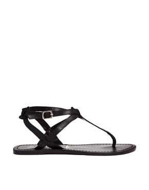 New Look Black Gracie Leather Toe Post Flat Sandals