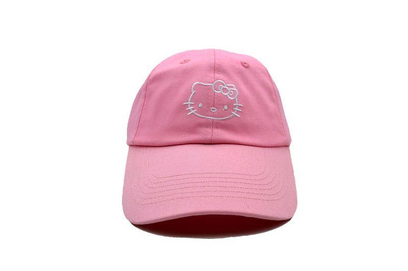 Mens / Womens Unisex Hello Kitty Lovely Cat Embroidery Logo Fashion Baseball Adjustable Cap - Pink / White