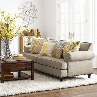 Carmen Sofa Flax Beige Sofa Living Room Yellow Living Room