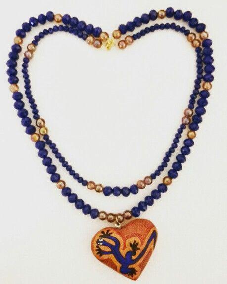 ad8cd4017ba4 Collar doble con cuentas de cristal color azul rey y cuentas ...