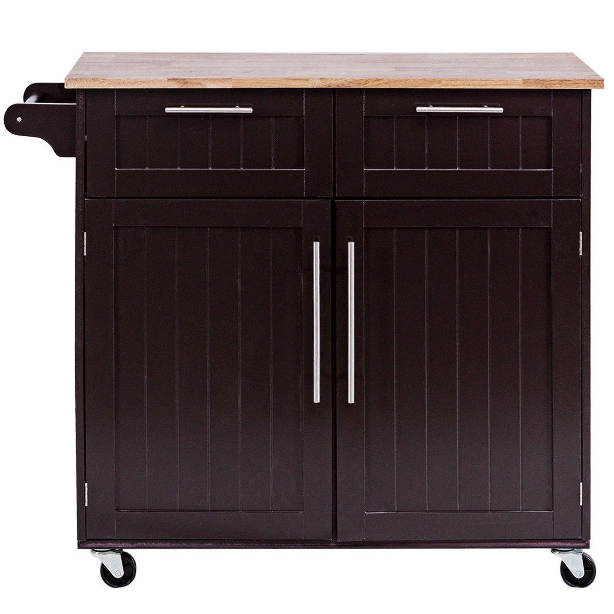 Costway Rolling Kitchen Cart Island Heavy Duty Storage Trolley Cabinet Utility Modern Walmart Com In 2020 Simple Kitchen Cabinets Kitchen Roll Kitchen Cabinet Doors