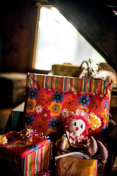 Gifts and Clown. Kodak Ektar 100, Leica M3, Canon 50mm f/1.2. © Jim Fisher