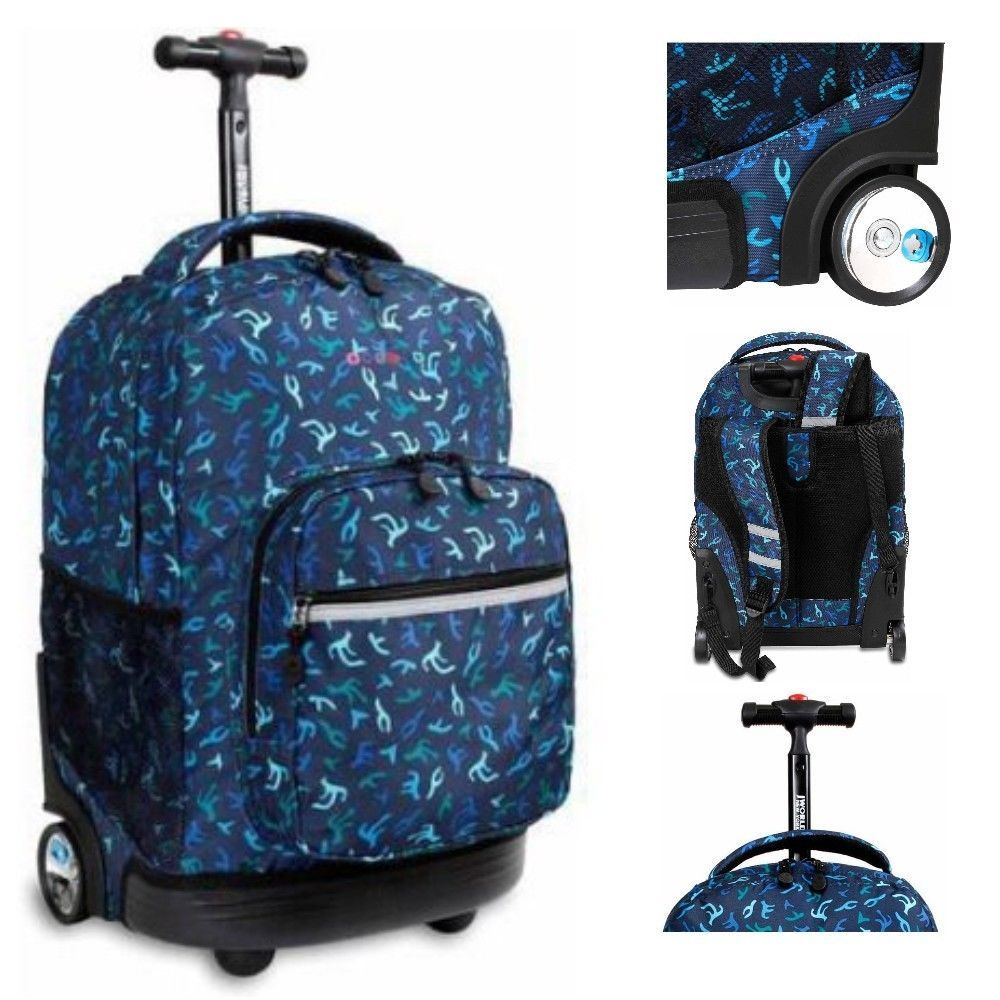 Wheeled Backpack Boys Rolling School Bookbag Blue Travel Roller ...