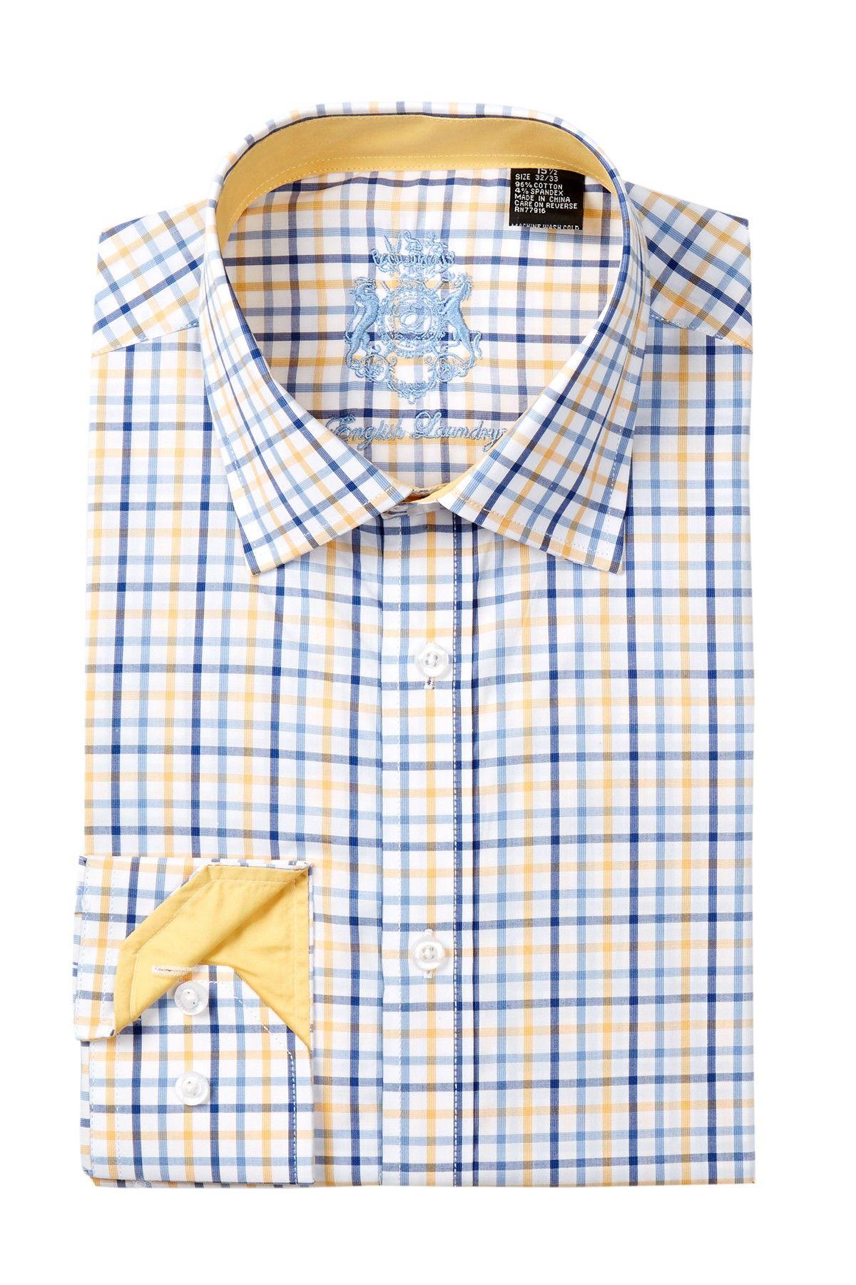 English Laundry Plaid Trim Fit Dress Shirt Fitted Dress Shirts Shirt Dress Shirts