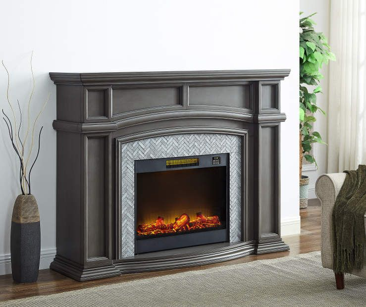 62 Grand Gray Electric Fireplace At Big Lots Big Lots
