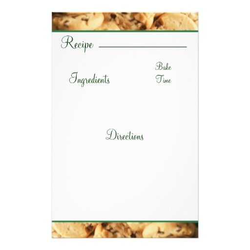 recipe stationery recipe chocolate chip cookie card stationary customized stationery