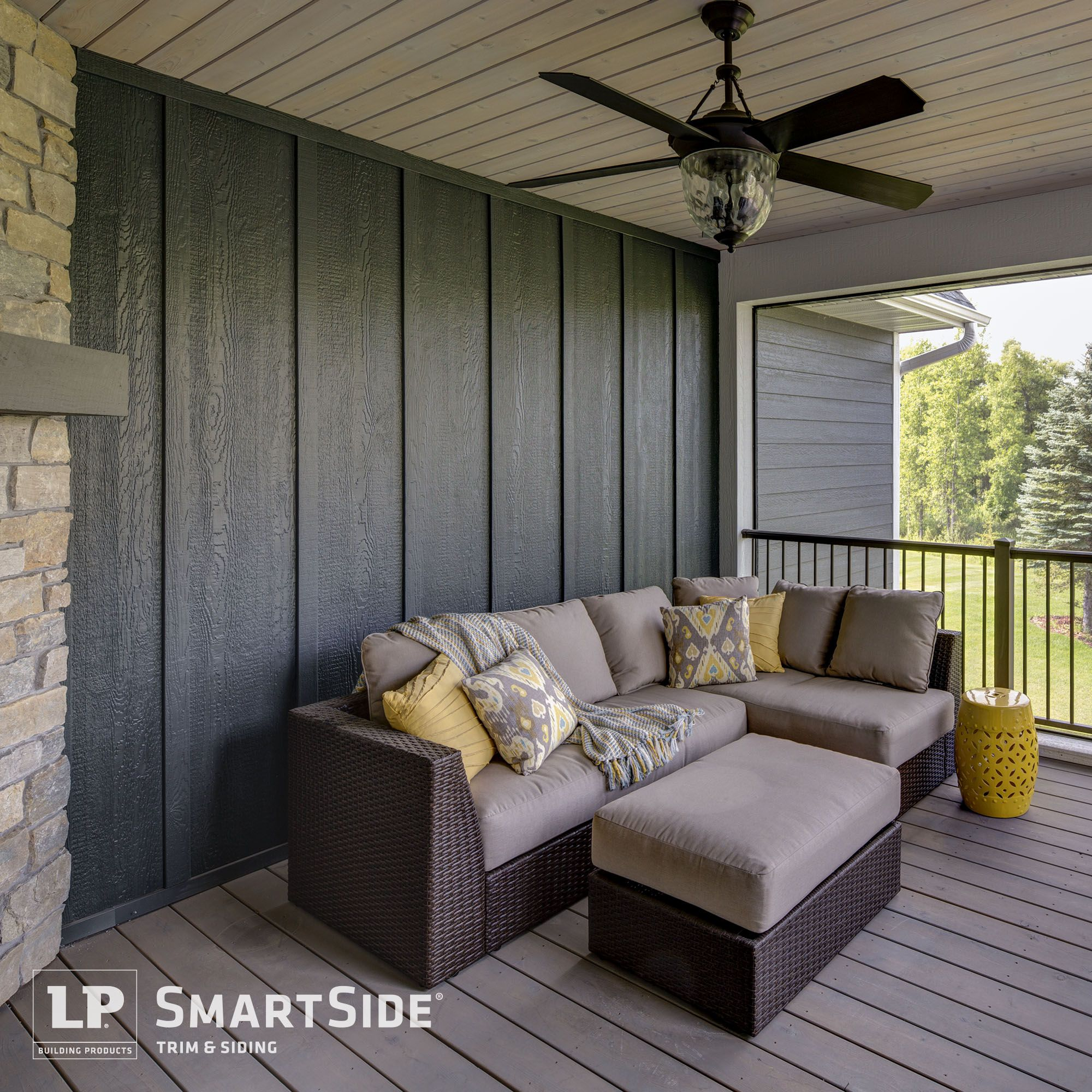A porch outfitted with lp smartside trim and panel siding for Lp smartside board and batten