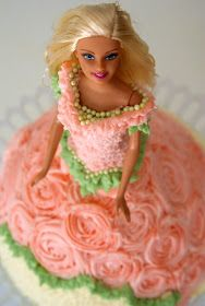 I made this Barbie doll cake over the weekend for the daughter of a friend.       The bodice of her dress was piped using a star tip. Tiny...