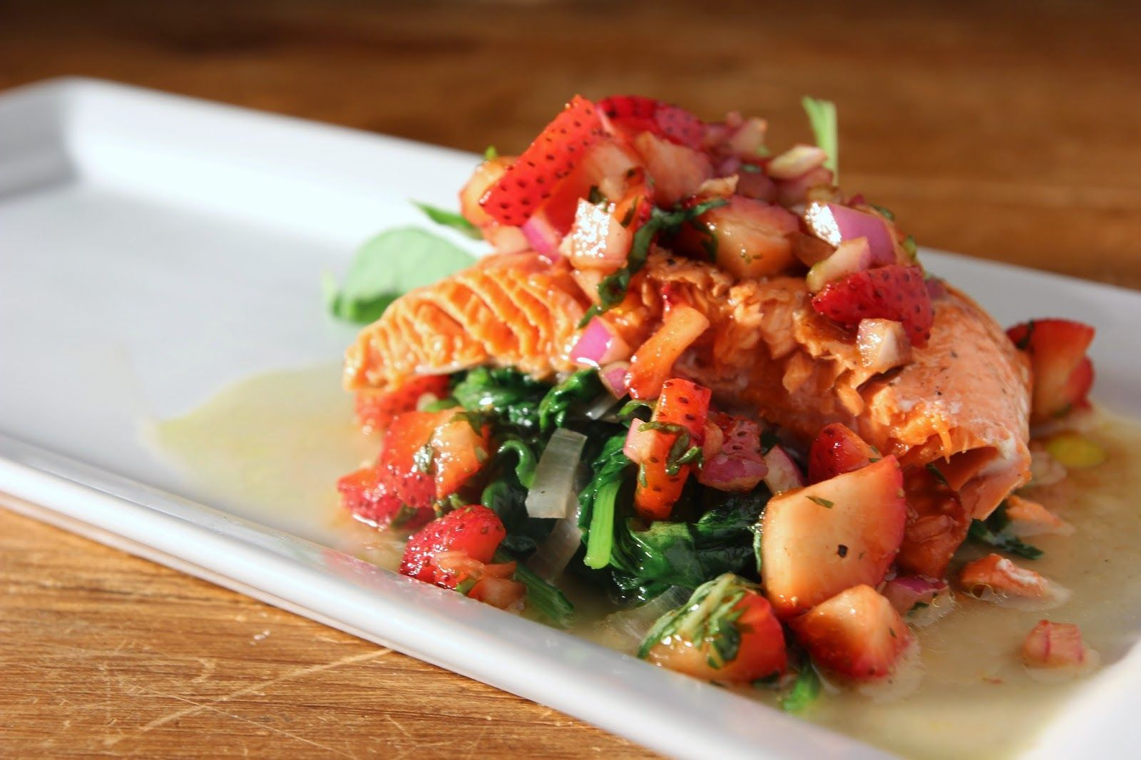Strawberry Salsa with Grilled Salmon