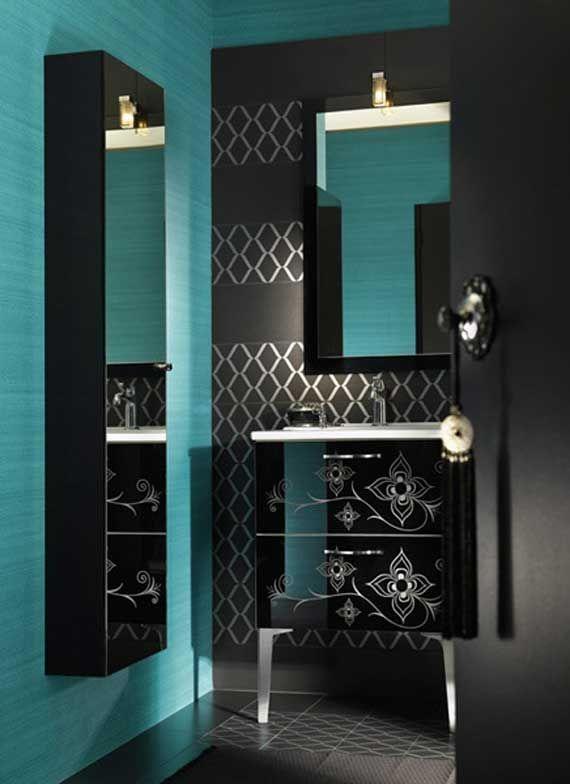Black bathroom for the home pinterest black house for Teal and black bathroom decor