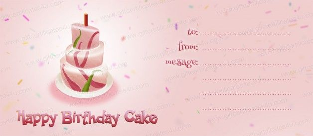 Happy birthday cake gift certificate template DIY gift - cute gift certificate template