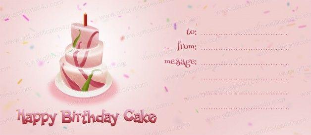 Happy birthday cake gift certificate template