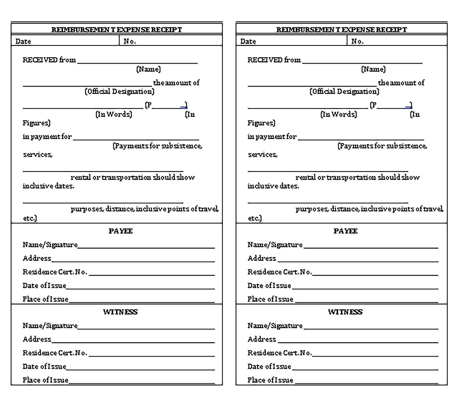Expense Receipt Template Printable Receipt Template Template Printable Templates