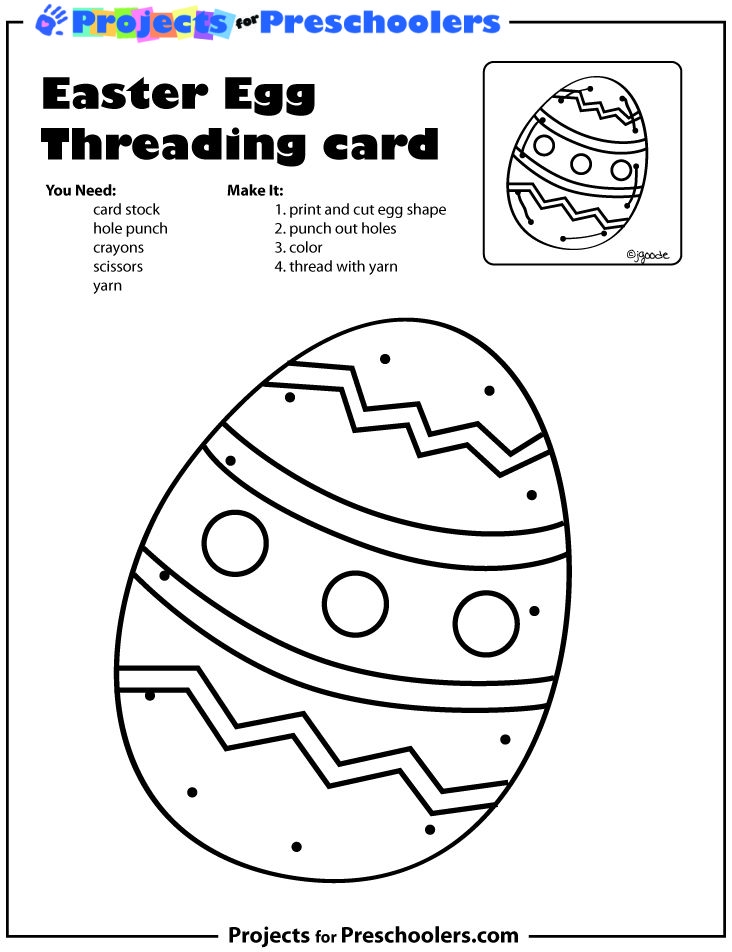 Easter Egg Threading card from Projects for Preschoolers
