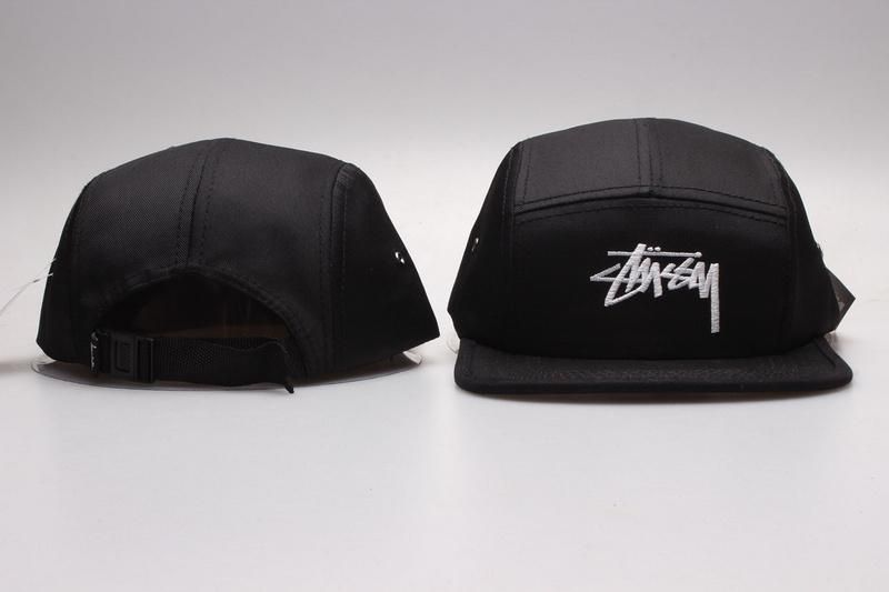 Men's / Women's Stussy Big Basic Stock Logo Signature Logo 5 Panel Strapback Hat - Grey / White