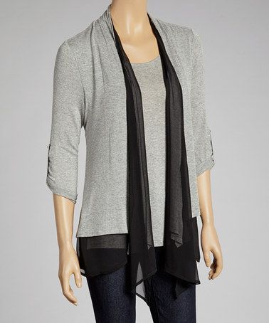 3888dbe4614 Take a look at this Gray   Black Open Cardigan by Faith and Joy on  zulily  today!  20 !!