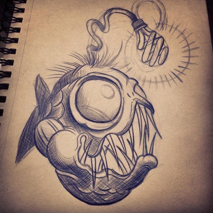 Off The Map Tattoo Original Art Drawings Angler Fish Sketch Disegni Di Tatuaggio Idee Per Tatuaggi Tempo Tatuaggio