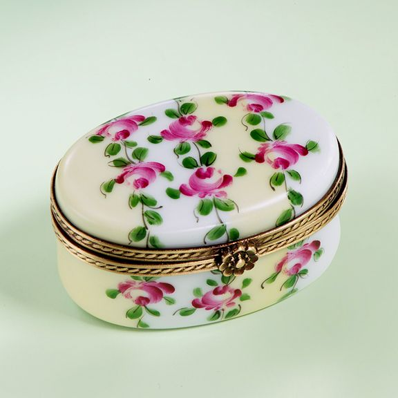 Limoges Spring Roses Oval Box.