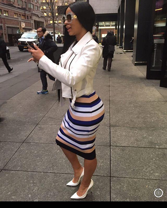 Cardi B Wears A Fashion Nova Midi Dress