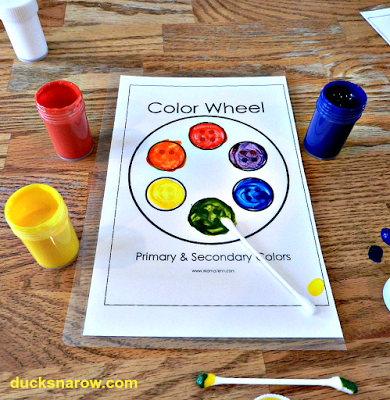 Letter Y is for Yellow preschool lesson with color blending activity using a Color Wheel. ducksnarow.com