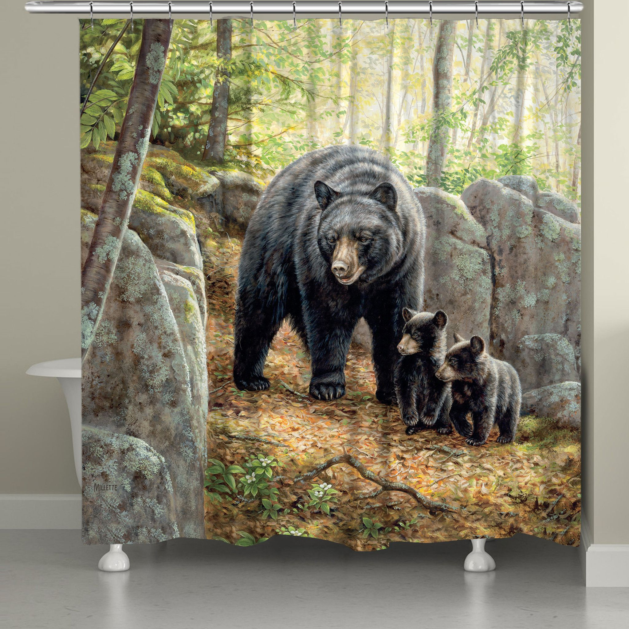 Black Bear With Cubs Shower Curtain Black Bear Decor Black Bear