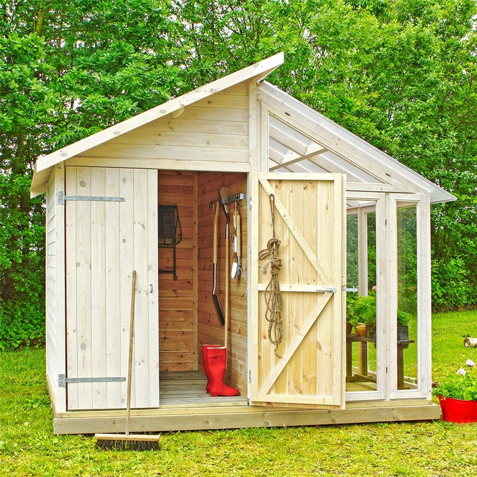 Beautiful Combination Of A Garden Shed And A Green House