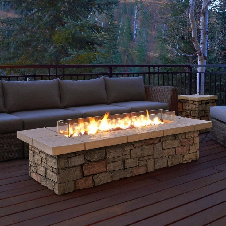 Photo of Real flame Sedona 66 inch x 19 inch rectangle propane fire pit made of fiber concrete in … – Do it yourself